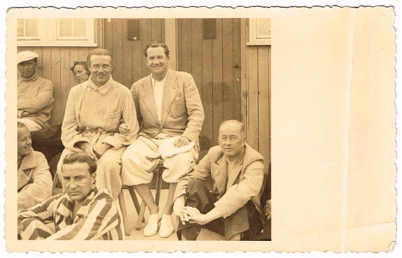 Die bekannten Schauspieler Willy Fritsch und Fritz Kampers mit Hans von Seckendorff (rechts) auf Sylt, 01.09.1933.