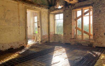 Die Bewehrung für die Decken der westlichen Zimmerflucht des Nordflügels