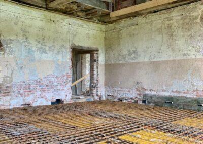 Die Bewehrung für die Decken über dem Erdgeschoss der westlichen Zimmerflucht des Südflügels