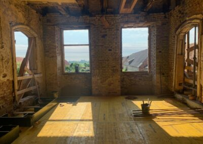 Schalung und Bewehrung für die Decken im Südflügel