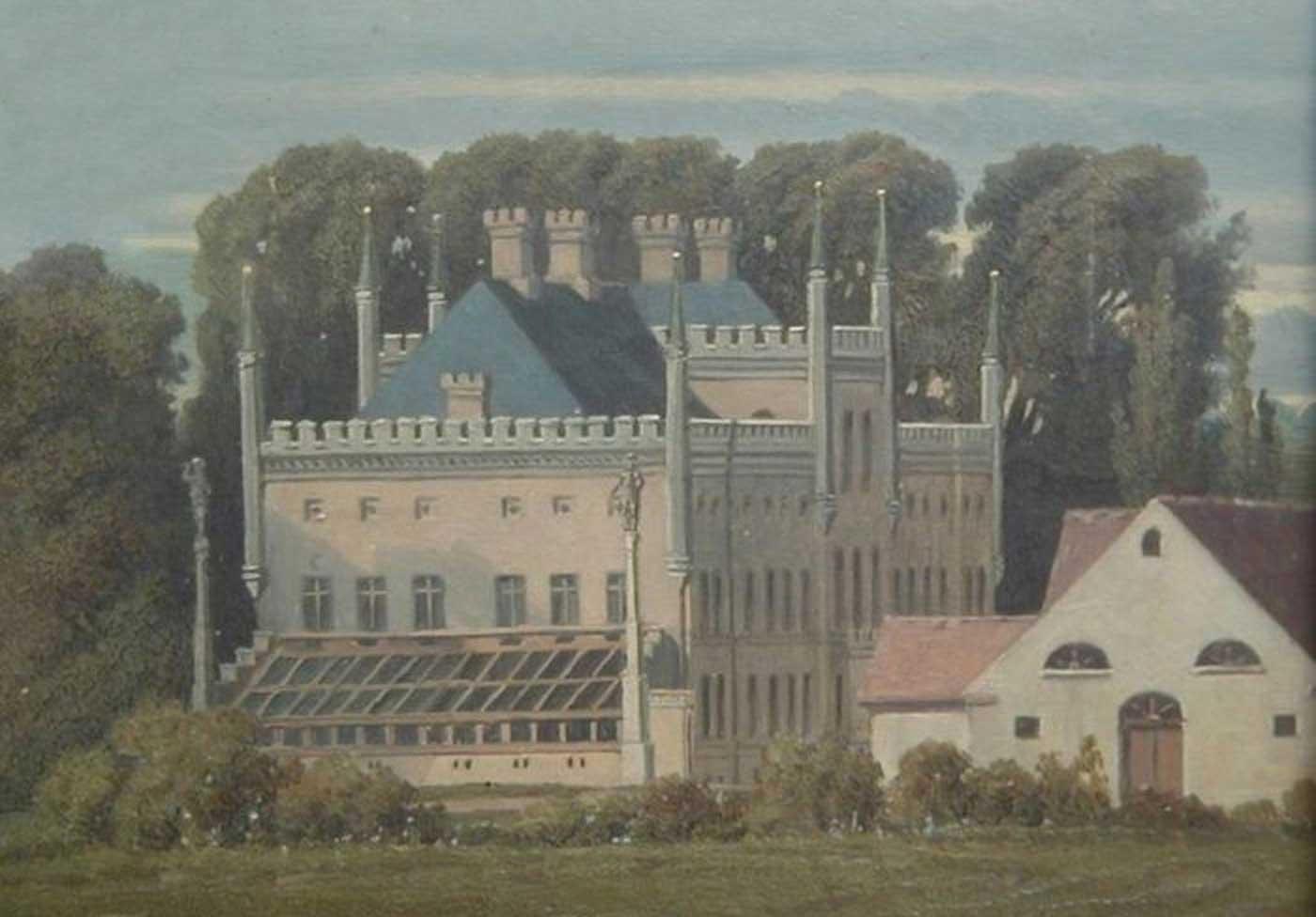Abb. 4: Schloss Broock nach dem Stüler-Umbau, Gemälde (Ausschnitt), Theodor Schloepke, 1851