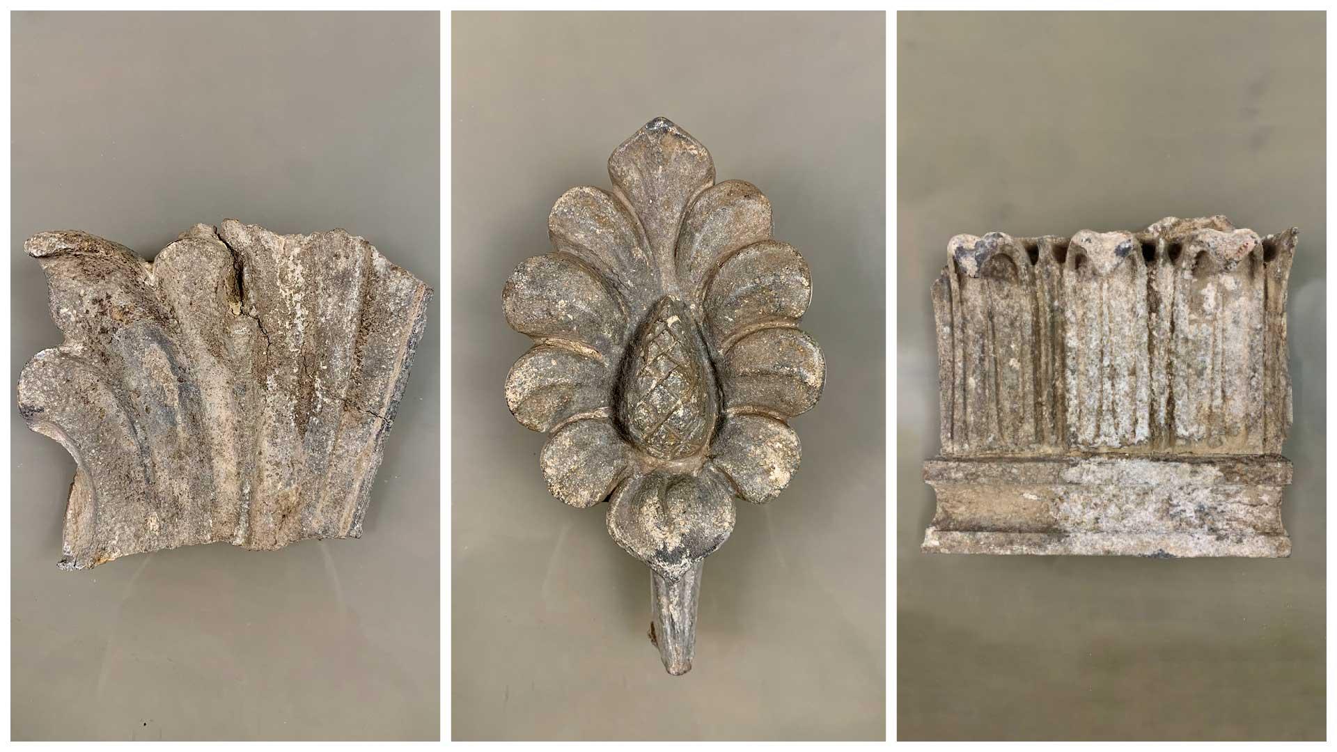 Abb. 1, 2, 3: Fundstücke - Drei Architekturfragmente aus Zinkguss
