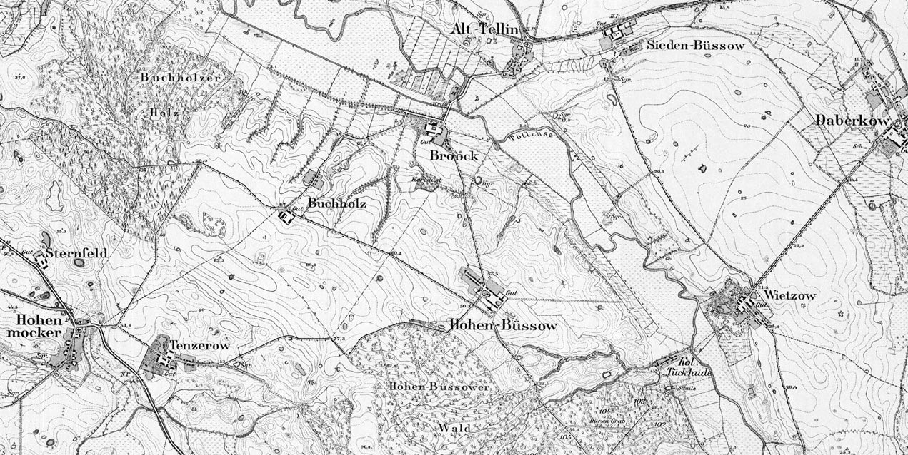 Abb. 01: Preußisches Messtischblatt. Zum Broocker Gutskomplex gehörten zu Zeiten der größten Ausdehnung die Güter und Vorwerke Buchholz, Hohenbüssow, Siedenbüssow, Tentzerow, Hohenmocker und Sternfeld.