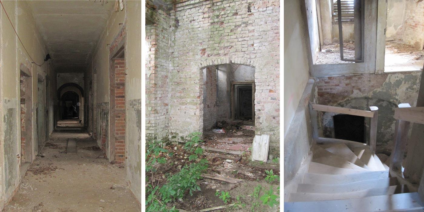 Abb. 02: Blick vom Seiteneingang in den Korridor, in die ehem. Verwaltungsräume und in das Dienstboten-Treppenhaus.