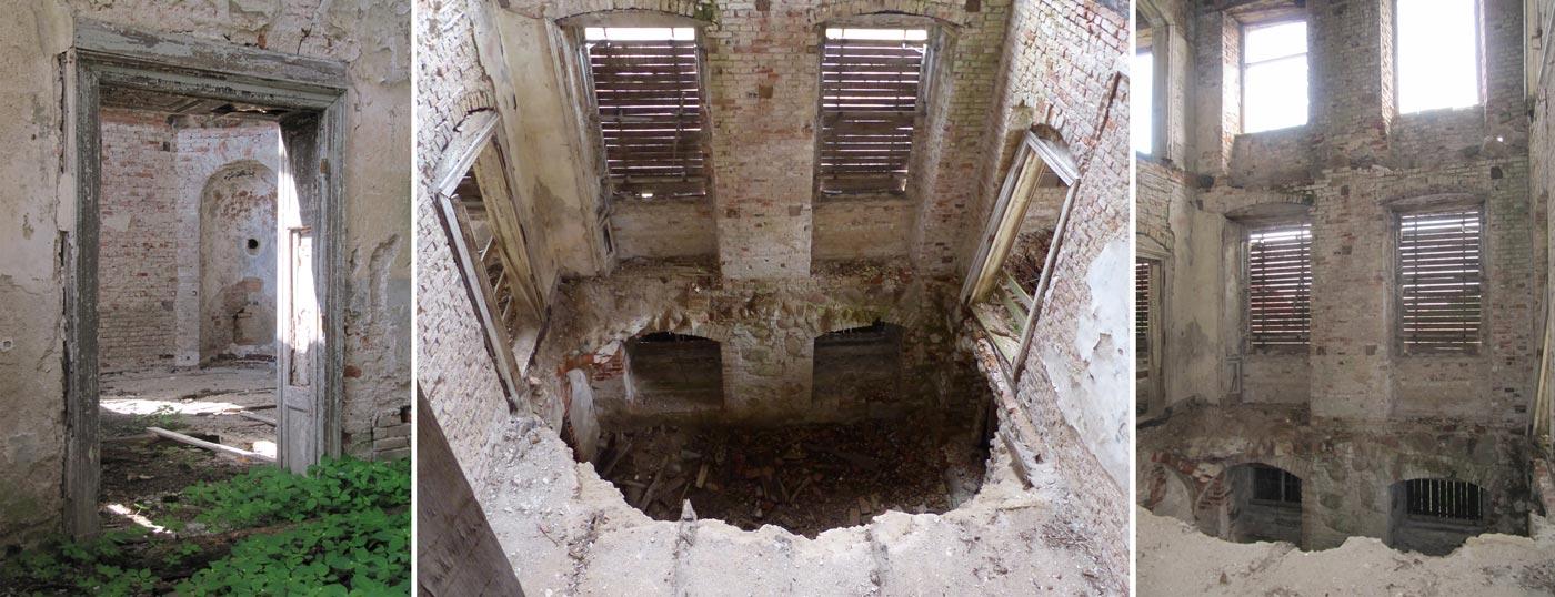 Abb. 04: Blick von der Halle in das Arbeitszimmer des Barons – Blick vom 1. Stock in die Bibliothek und vom Hochparterre.