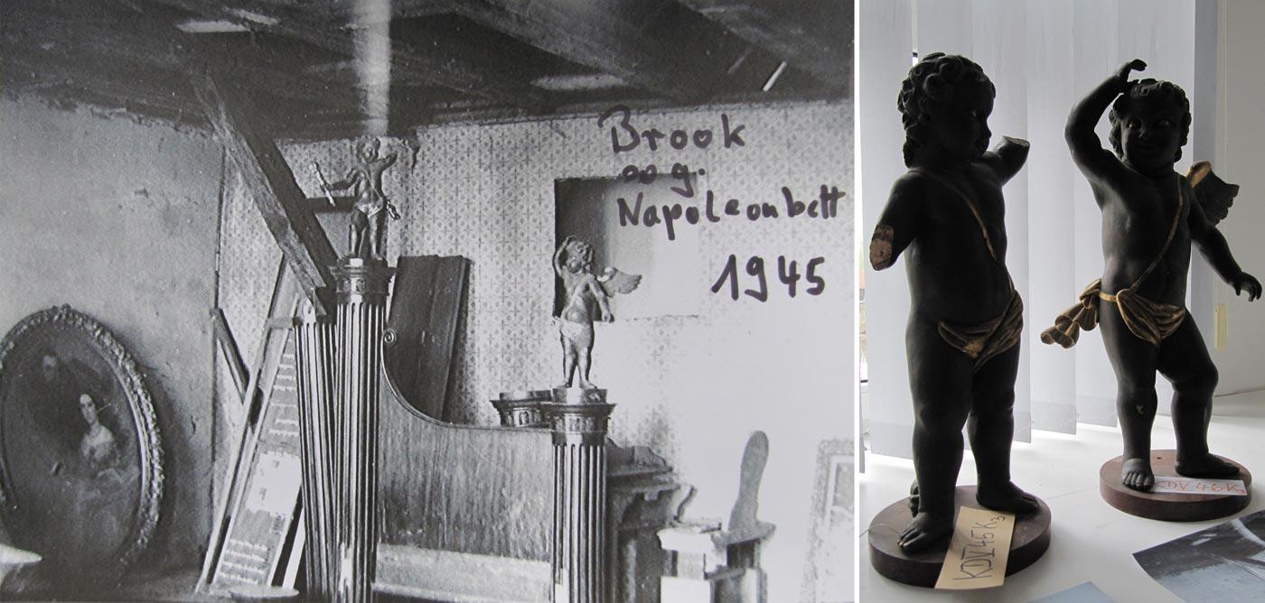 """Abb. 06: 1945 lagerten einige Ausstattungsstücke auf dem Dachboden, so auch das """"Napoleonbett"""". Die kleinen Engelsfiguren wurden bis vor kurzem im [mittlerweile geschlossenen] Regionalmuseum Demmin aufbewahrt und gezeigt."""
