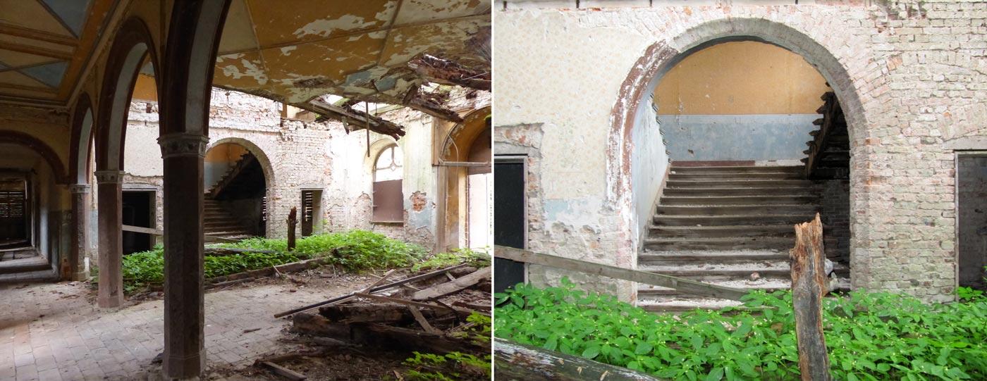 """Abb. 09: Blick durch die Halle zum Treppenhaus – Das Treppenhaus [links und rechts die Eingänge zur Garderobe und zu einem """"Waschraum""""]."""