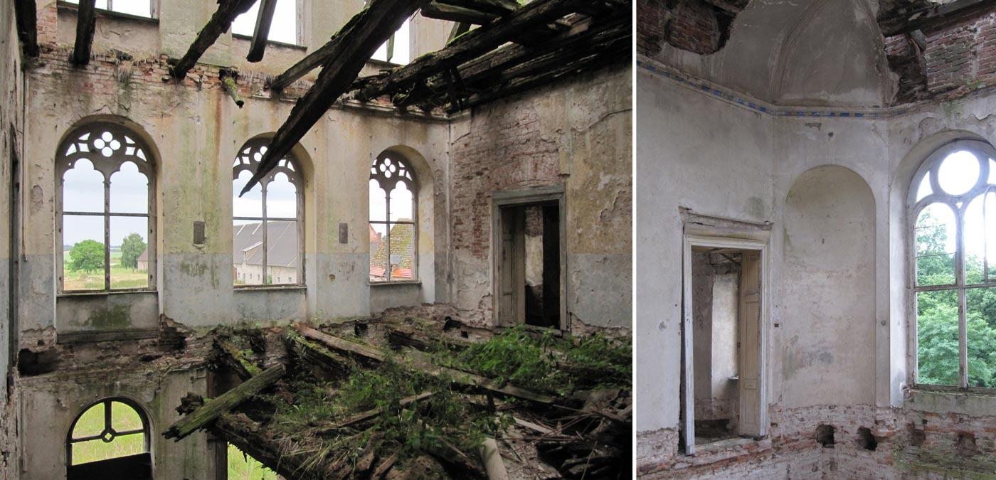 Abb. 10: Die obere Halle, mit Blick über den Wirtschaftshof – Der Saal, mit eingestürzter Kuppel-Stuckdecke.