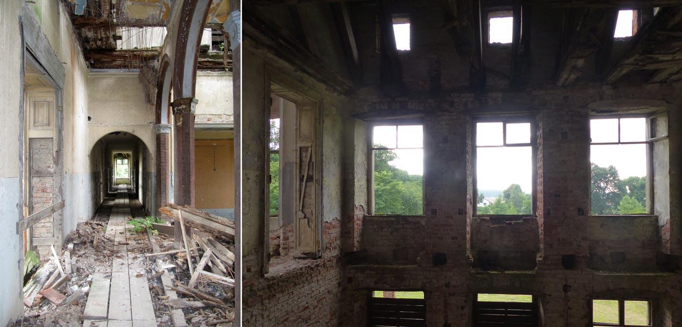 """Abb. 11: Oberer Korridor mit Arkaden zur oberen Halle – Eines der ehemals """"komfortablen"""" Gästezimmer im 1. Stock."""